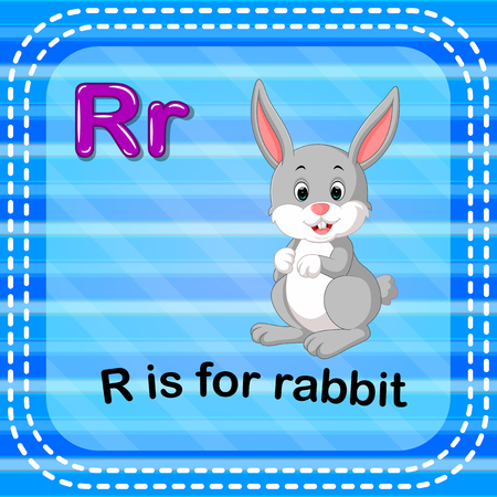 Flashcard letter R is for rabbit