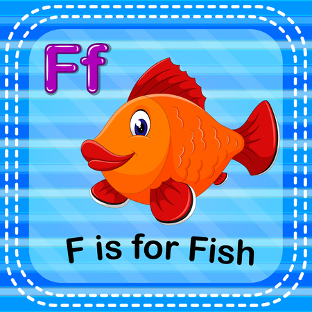 Flashcard letter F is for fish