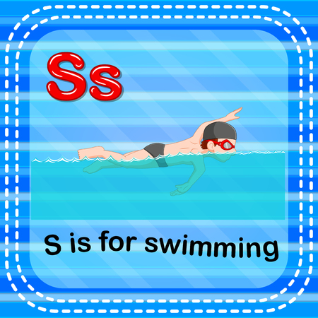 Flashcard letter S is for swimming