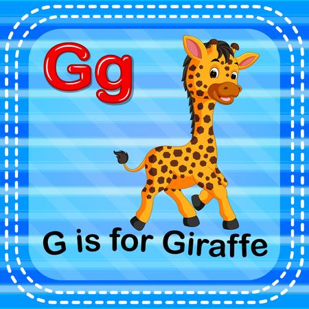 Flashcard 편지 G는 파란색 배경에 기린 그림입니다. 스톡 콘텐츠 - 93117014