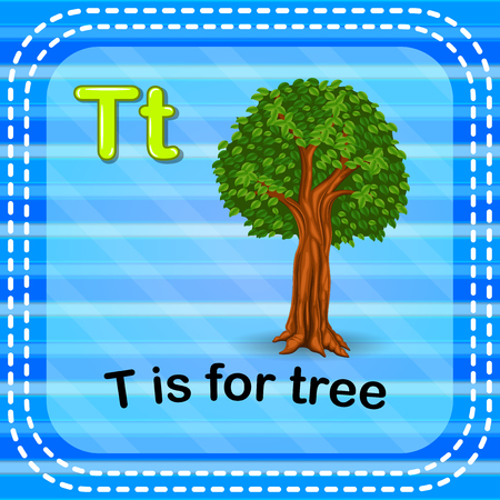 Flashcard letter T is for tree