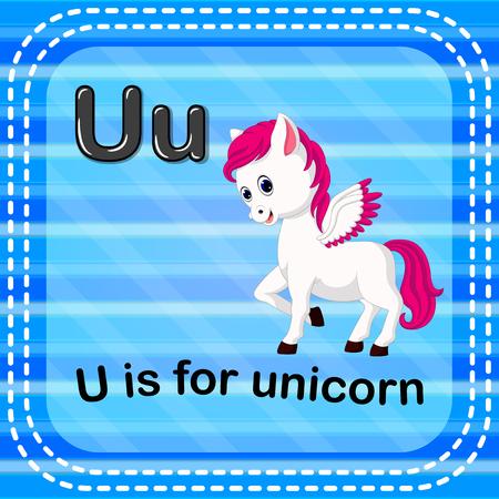 Flashcard letter U is for unicorn Vector illustration. Stock Illustratie