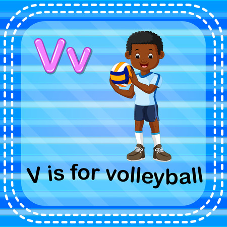 Flashcard letter V is for volleyball Vector illustration.