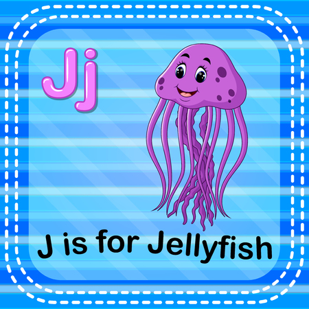 Flashcard letter J is for jellyfish Ilustracja