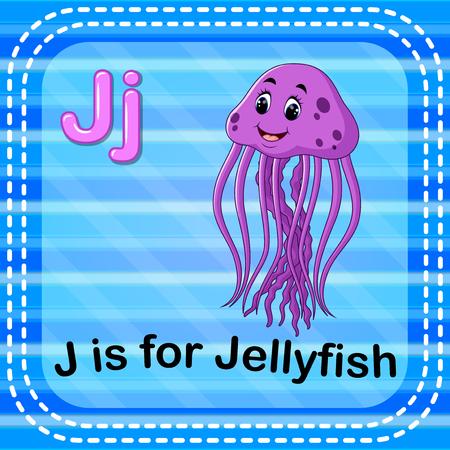 Flashcard letter J is for jellyfish Stock Illustratie