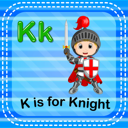 Flashcard letter K is for knight Vettoriali