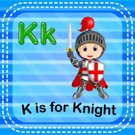 Flashcard letter K is for knight Illustration