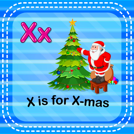 Flashcard letter X is for x-mas