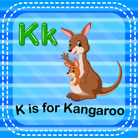 Flashcard letter K is for kangaroo illustration on blue background.