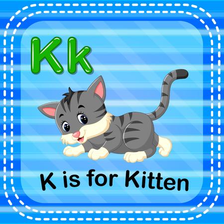 Flashcard letter K is for kitten illustration on blue background.