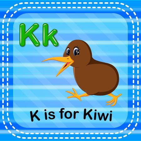 Flashcard letter K is for kiwi Illustration