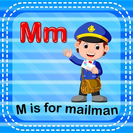 Flashcard letter M is for mailman Vector illustration.