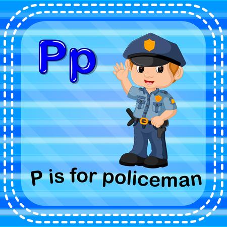Flashcard letter P is for policeman illustration on blue background.