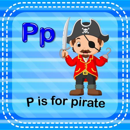 Flashcard letter P is for pirate illustration on blue background. Illustration