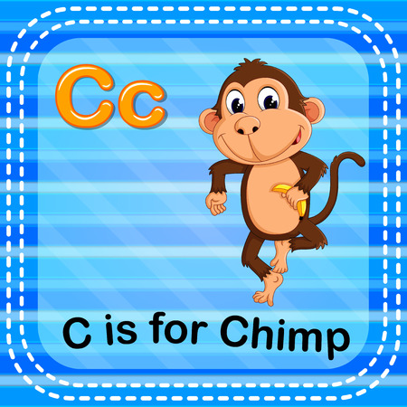 Flashcard letter C is for chimp.