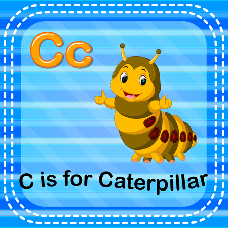 Flashcard letter C is for caterpillar illustration on blue background.