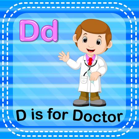 Flashcard lettre de l & # 39 ; est pour le médecin Banque d'images - 93075064