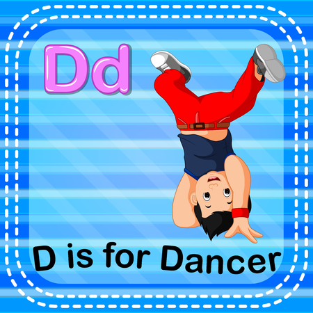 Flashcard letter D is for dancer Illustration
