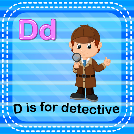 Flashcard letter D is for detective illustration on blue background. Illustration