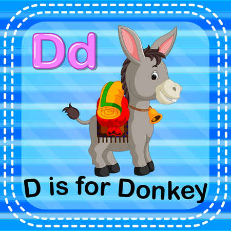 Flashcard letter D is for donkey illustration on blue background. Illustration