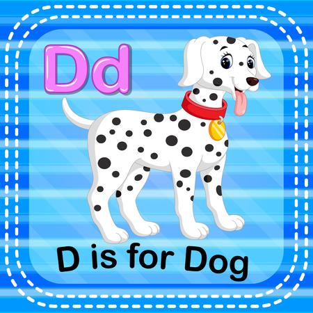 Flashcard letter D is for dog illustration on blue background.