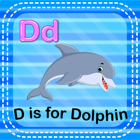 Flashcard letter D is for dolphin Vector illustration.