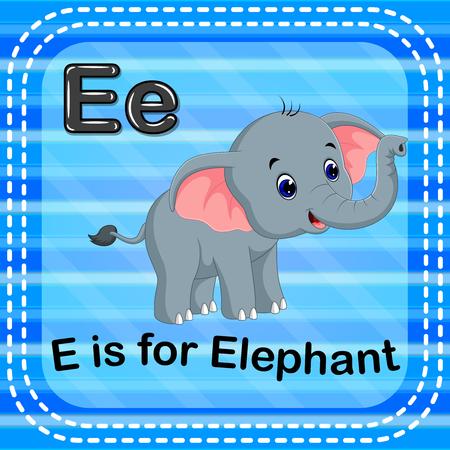 Flashcard letter E is for elephant Illustration