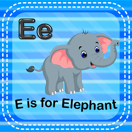 Flashcard letter E is for elephant Vettoriali