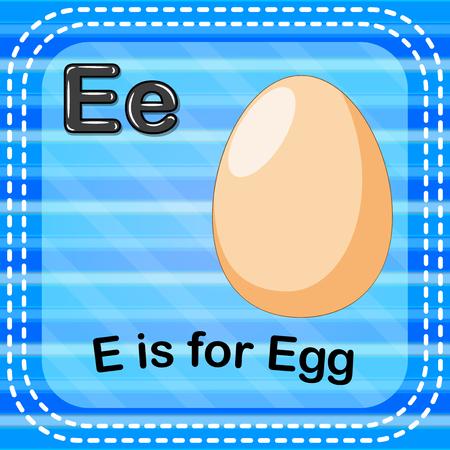 Flashcard letter E is for egg illustration on blue background.