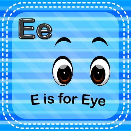 Flashcard letter E is for eye. Illustration