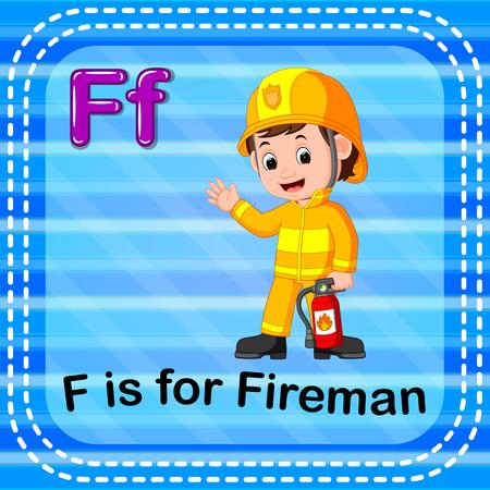 Flashcard letter F is for fireman Vector illustration.