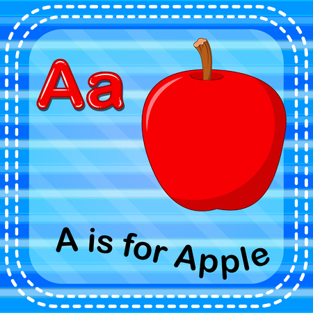 Flashcard letter A is for apple Ilustracja