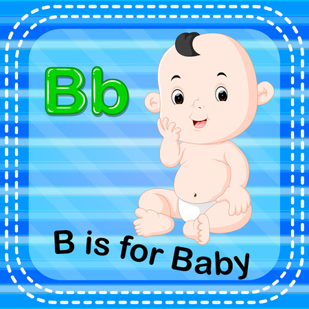 Letter B is for baby, flashcard illustration.