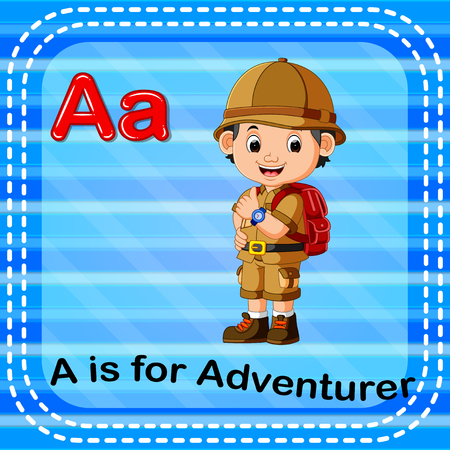 Flashcard letter A is for adventurer illustration on blue background. Illustration