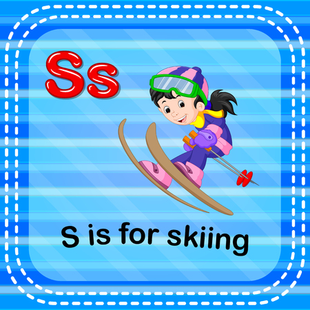 Flashcard letter S is for skiing