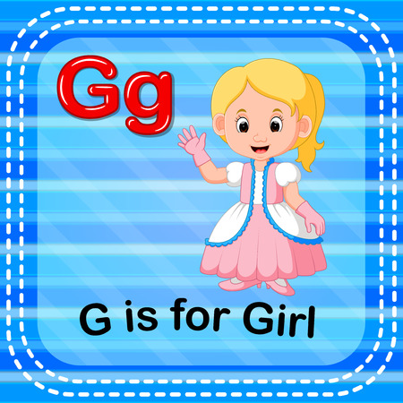 Flashcard letter G is for girl
