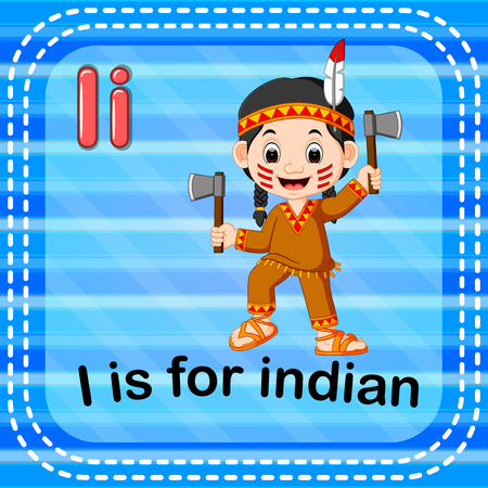 Flashcard letter I is for indian
