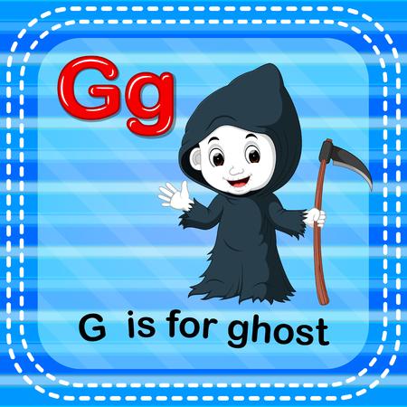 Flashcard letter, G is for ghost design Illustration