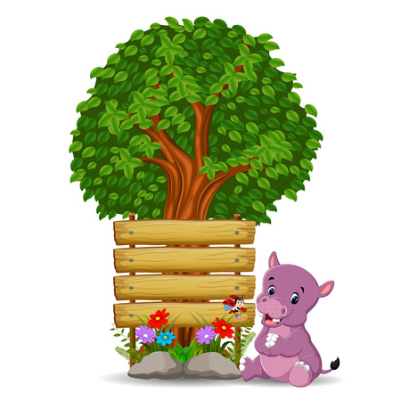 Hippo in front of an empty wooden signboard illustration. Illustration