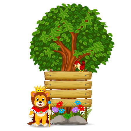 Lion in front of an empty wooden signboard illustration.