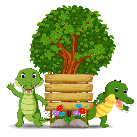 Wooden sign template with two crocodile illustration. Illustration
