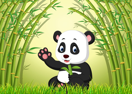 One cute panda in a bamboo forest illustration.