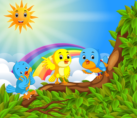 Many bird on the tree branch with rainbow scene illustration. Illustration