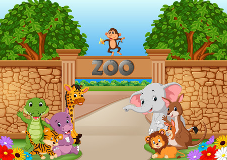 zoo and animals in a beautiful nature Illustration