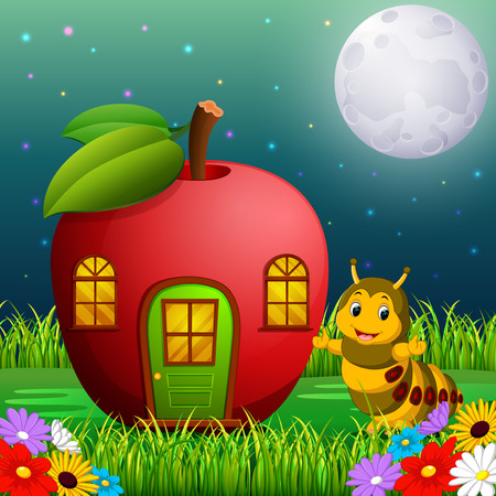 funny caterpillar and a apple house in forest