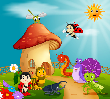 many insect and a mushroom house in forest Illustration