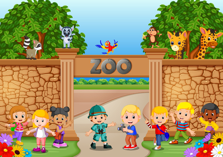 Kids playing at the zoo with zookeeper and animal Иллюстрация