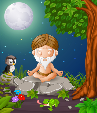 Old man meditating while sitting on a big stone in the forest vector illustration