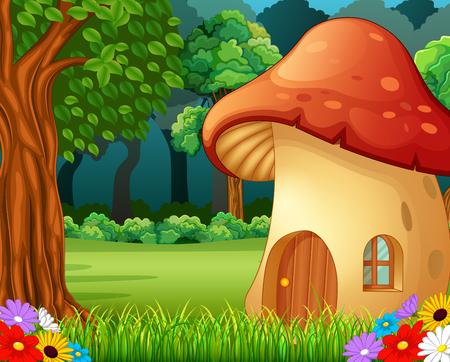 숲에 빨간 버섯 집 일러스트