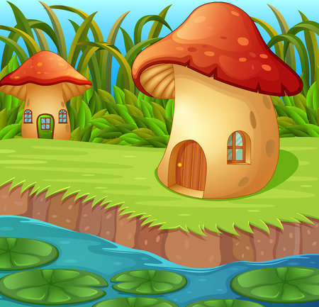 a waterlily in front of a mushroom house in beautiful nature